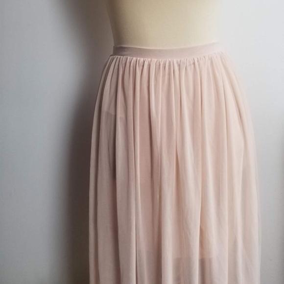 Asos Sheer Overlay Pale Pink Skirt by Asos